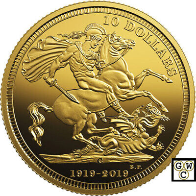 2019 'Last Issued Sovereign-100th Ann.' Prf $10 Gold Coin 1/4oz .9999Fine(18803)