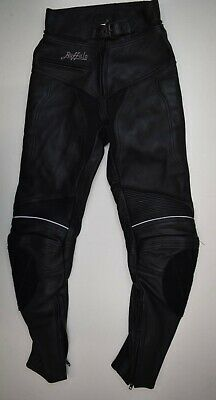 Jt643 Buffalo Women Motorcycle Black Leather Pants Trousers  Size 8 Uk