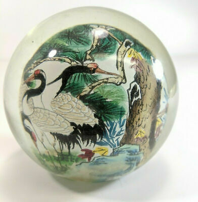 Vintage Reverse Hand Painted Japanese Globe Stork Bird Outdoor Scene Glass Dome