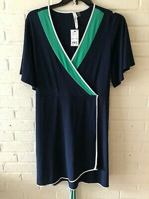New NY Collection Woman's Flutter Sleeve Faux Wrap Dress Navy 1X & 1XP  T30