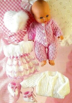 Baby Dolls Clothes Knitting Pattern Copy Dress jumpsuit cardigan  8 Ply