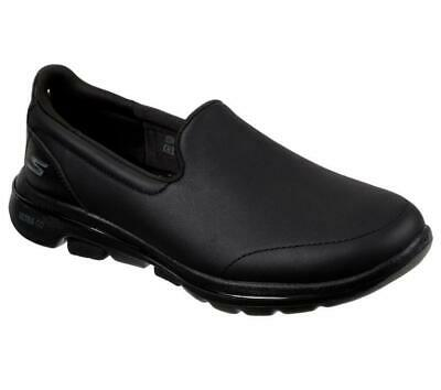 NEW Skechers Go Walk 5 Polished Women's Leather Look Casual Slip On Shoes Black
