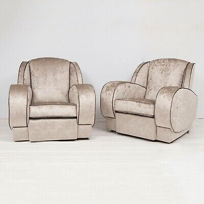 A stunning pair of art deco armchairs, newly upholstered in a silver snakeskin