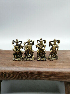 """1.38""""Collection Chinese pure copper Handmade Folk Four Heavenly Kings statue"""