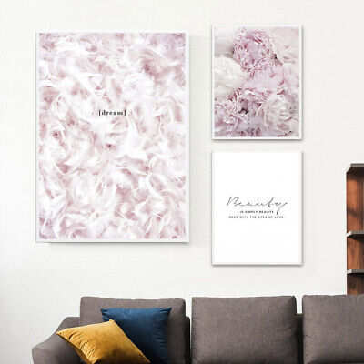 Nordic Feather Flower Pink Canvas Posters Art Prints Painting Wall Home Decor UK