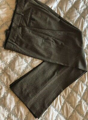 346 Brooks Brothers Brown Houndstooth Plaid Womens Lined Dress Pants Size 8 Wool