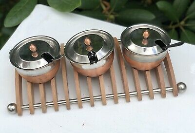 Steel Copper Modern Arts & Crafts Style Condiment Sauce Dishes Bowls Tray
