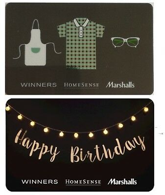 2 collectible WINNERS MARCHALLS HOMESENCE gift cards Canada TJX Birthday Shirt