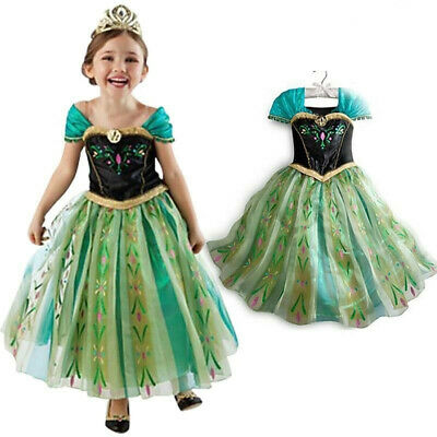Girls Princess Anna Green Dress Fancy Costume Baby Party Kids Cosplay Christmasˇ