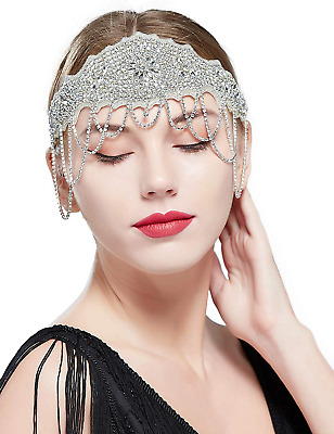 Coucoland 1920s Flapper Headband Crystal Great Gatsby Headpiece Beaded Vintage