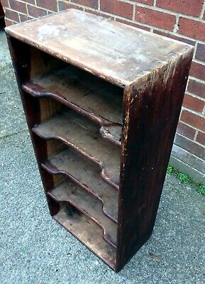 Victorian antique industrial solid stained pine shaped bookcase book CD shelf