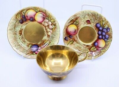 Aynsley Gilded Orchard Gold Tea Cup & Saucer Trio
