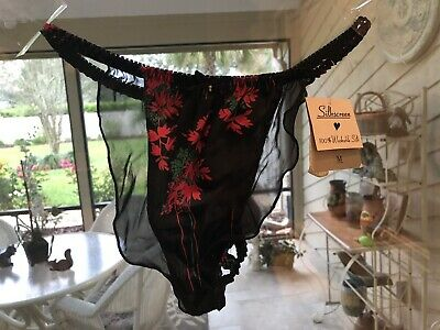 Vintage Silkscreen Thong Panties M/6 Floral and Lace  Second Skin Satin Stretchy