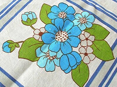 """VTG PRINTED LINEN TABLECLOTH TURQUOISE GRAY FLOWERS 52"""" x 62"""""""