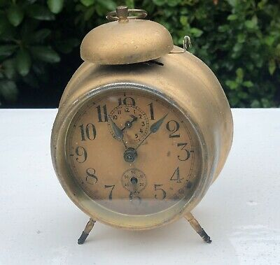 Antique Wind Up Bell Alarm Clock Painted In Modern Gold Paint Rustic Shabby Look