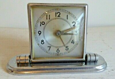 Folding Art Deco Desk Clock 7cm x 7cm With 13cm Base
