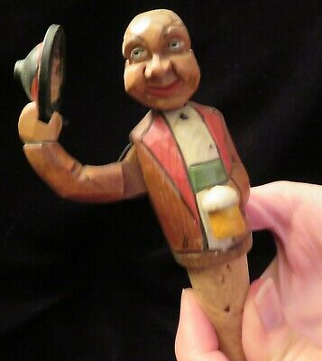 Vintage Anri Carved Wood Cork Italy Man Tipping Hat With Beer Bottle Stopper