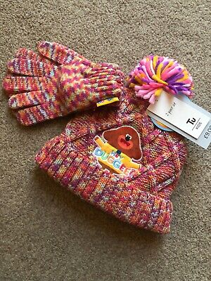 Tu Clothing Hey Duggee Girls Rainbow Knit Bobble Hat And Gloves 3-5 Years