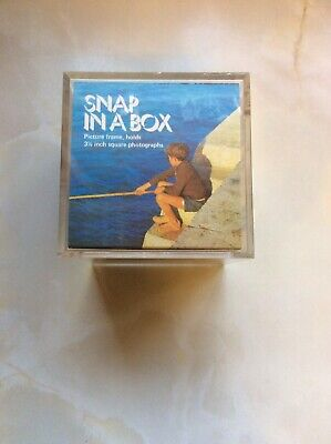 Vintage Retro Kitsch Snap In A Box Plastic Cube Photo frame 1960s 60s 1970s 70s