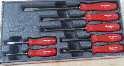 New Snap On 7 Piece Red Hard Handle Screwdriver Set SDDX70AR