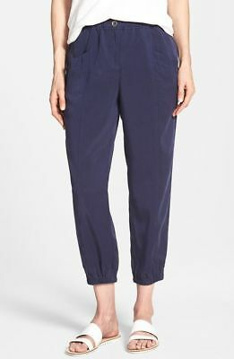 $178 BNWT Eileen Fisher Tencel Twill MIDNIGHT Navy Cropped Tapered Leg Pants S
