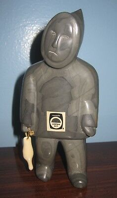 INUIT soapstone marble ESKIMO FOLK ART Hunter & Catch carved BIRD carving figure