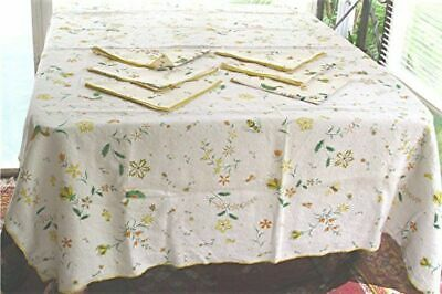"""VTG LINEN PRINT TABLECLOTH/6 NAPKINS ROOSTERS DUCKS FLOWERS BEES STARS 52"""" x 64"""""""