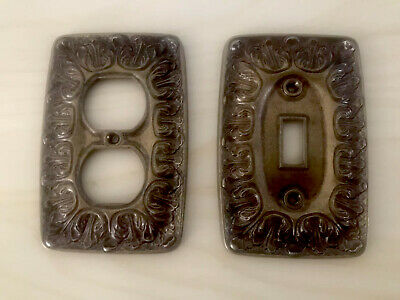 Matching Set VTG Ornate Brass Light Switch Plate and Outlet Covers Baroque MINT