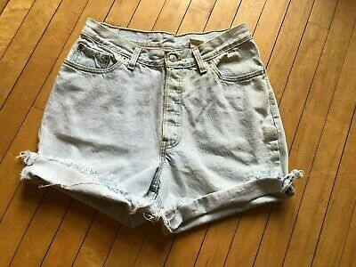 Vintage Levis 501 Denim Cut Off Shorts Light Wash USA Mom High Waist Sz 30 W
