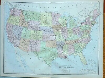 1882 Antique Map United States Texas Kansas Kentucky Florida Montana Washington