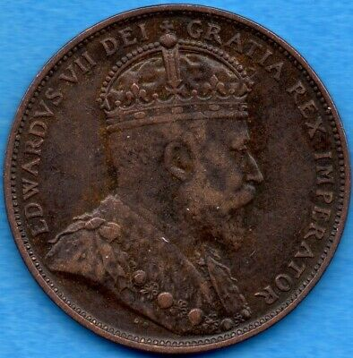 Canada Newfoundland 1904 H 1 Cent One Large Cent Coin - Solid Very Fine