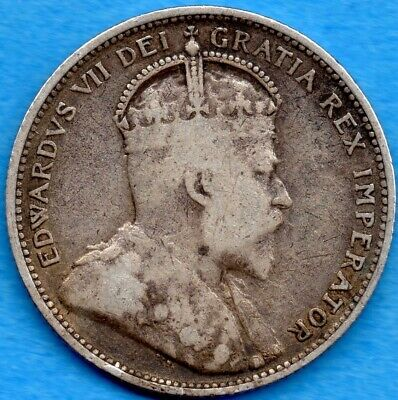 Canada 1909 25 Cents Twenty Five Cent Silver Coin - Very Good