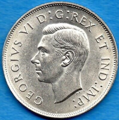 Canada 1941 50 Cents Fifty Cents Silver Coin - AU