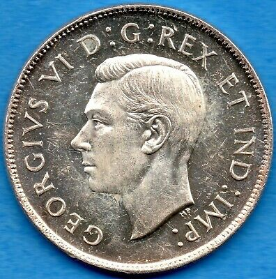 Canada 1944 50 Cents Fifty Cents Silver Coin - Uncirculated