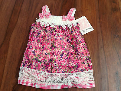 Bonnie Jeans Baby Girls Chiffon Pink White Floral Crochet Lace Lined Dress 18M