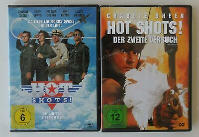 2x Hot Shots 1+2 DVD Bundle (Charlie Sheen) .