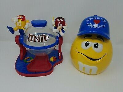 "Set of 2 M&M Cookie Jar ""Honk If You Love Chocolate"" and Beach Dispenser"