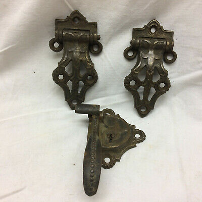 Vintage Latch and 2 Offset Hinges from Ice Box Ornate Design Solid Cast Brass