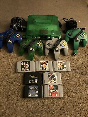 Official Jungle Green Nintendo 64 N64 Bundle 4 Controllers Games Expansion Pak
