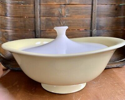 Mid Century Modern Yellow Bowl White Recessed Lid Serving   Great Lines MCM
