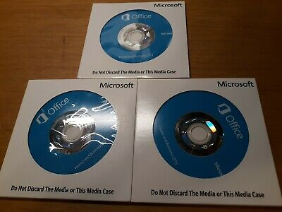 Lot of 3 Microsoft Office Home and Business 2013 Media with Key OEM.  Used