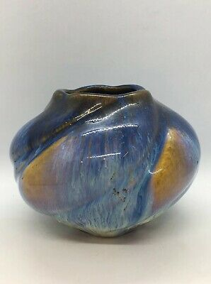 Vintage Art Pottery Blue Embossed Swirl Impressive Cabinet Bowl  Unidentifiable