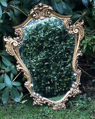 Antique Vintage Style Large Ornate Oval Shaped Rococo Style Mirror