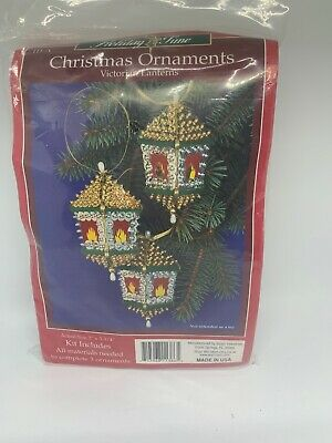 Sulyn VICTORIAN LANTERN Vintage Sequin Bead Christmas Ornament Craft Kit NOS