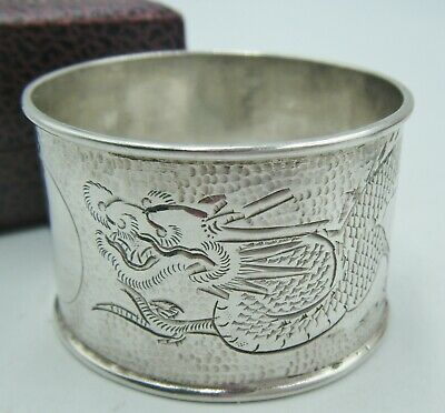 Antique C1900 CHINESE Silver Napkin Ring Detailed DRAGON Design By Lee Yee Hing