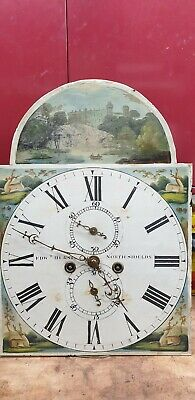 Antique longcase grandfather clock movement with dial Edward Hurst North Shields