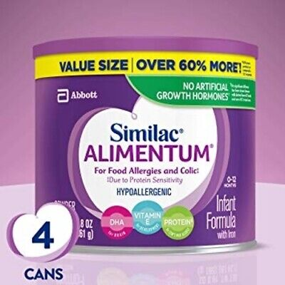 4x Similac Alimentum VALUE SIZE Hypoallergenic 19.8 OZ Infant Formula Allergies