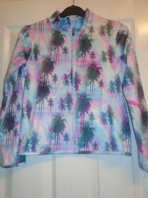 Next Girls Turquoise/Palm Tree Sports Jacket/Tracksuit Top - 10 Years VGC