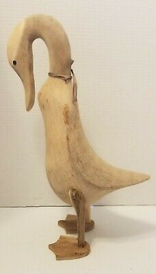 """Large Wooden Duck Wood Hand Carved Figure Sculpture Deco 16.5"""""""