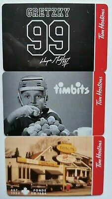 2020 TIM HORTONS  ~WAYNE GRETZKY~  GIFT CARDS  ~Set of 3 ~FREE ship ~Unloaded